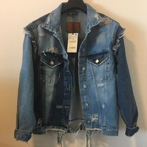 ZARA DENIM JACKET, NEW W/TAG , SIZE S